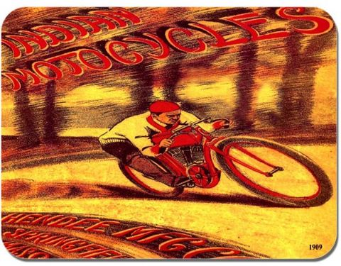 Indian 1909 Motorcycle Mouse Mat. Vintage American Motorbike Mouse Pad